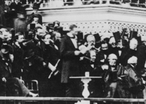President Lincoln delivering his inaugural address on the east portico of the U.