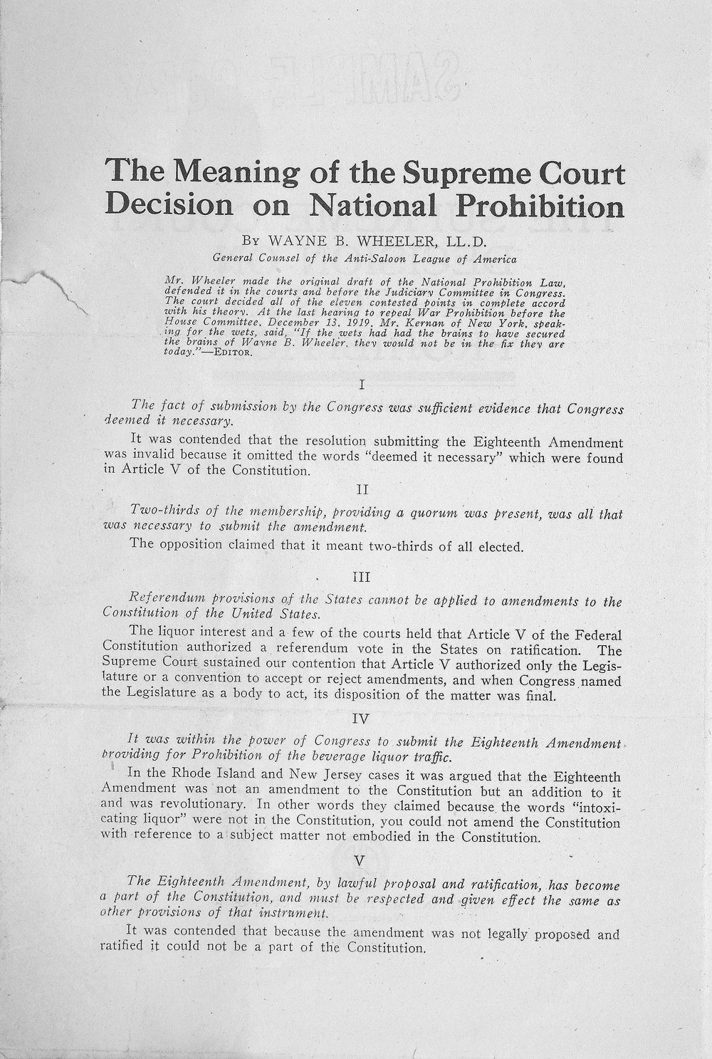 "an analysis of national prohibition act also known as the volstead act The conventional view that national prohibition failed rests upon an  the  stringent prohibition imposed by the volstead act, however, represented a more  drastic  the definition were unavailing31 the act also forbade possession of  intoxicating  jeffrey a miron, ""an economic analysis of alcohol prohibition,""  journal of."