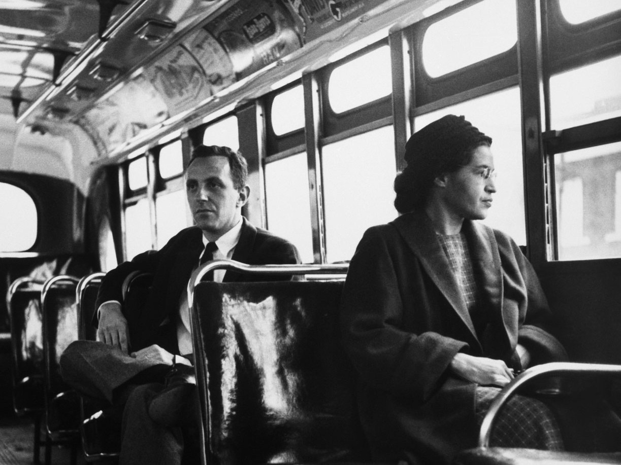 Parks on a Montgomery city bus in 1956