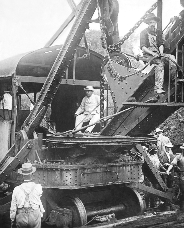 Theodore Roosevelt visiting the Panama Canal construction site in 1904