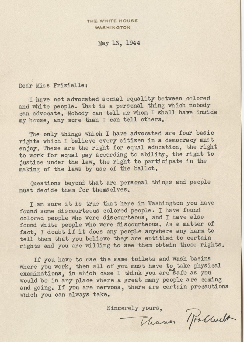 Eleanor Roosevelt to Addie Frizielle, May 13, 1944 (GLC09544)
