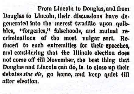 Sixth Debate:  Quincy October 13, 1858  (New York Herald, October 13, 1858, ProQ