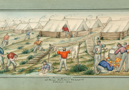 Routines of camp come to life in this watercolor by a Union soldier, Private Hen