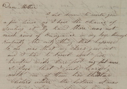 The first page of a letter from Confederate soldier John P. Nugent to his mother