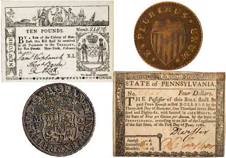 U.S. Currency (Coins from New-York Historical Society; Paper currency from the M