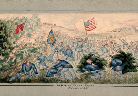 Henry Berckhoff of New York evocatively illustrated the battle of Cross Keys, Vi