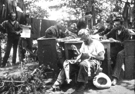 Union soldiers writing letters home from Camp Essex, Maryland, in 1861. Courtesy