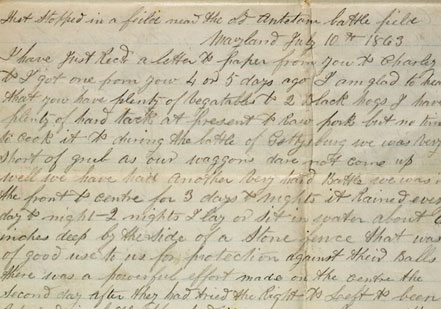 The first page of a letter from David Smith, a Union soldier, to his family in N