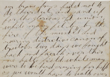 The fourth page of a letter from Joseph Jones, a Union soldier, to his wife in I