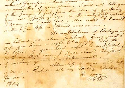 Hamilton's draft of his farewell letter to his wife, July 4, 1804 (Library of Co