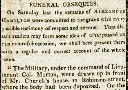 Report of Hamilton's funeral in the July 17, 1804 edition of the New-York Evenin