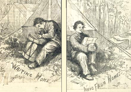 A drummer boy is depicted writing and receiving letters from home in Thomas Nast