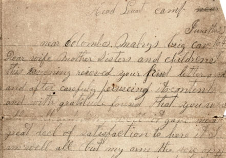 The first page of A. D. Clifton's four-page letter to his family in Mississippi,