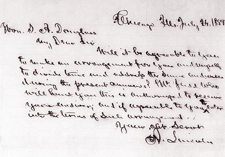 Lincoln to Douglas, July 24, 1858 (in Norman Judd's hand) (Library of Congress M