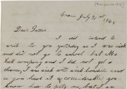 A letter from Georgiana Tillotson to her father, George, serving in the 89th New