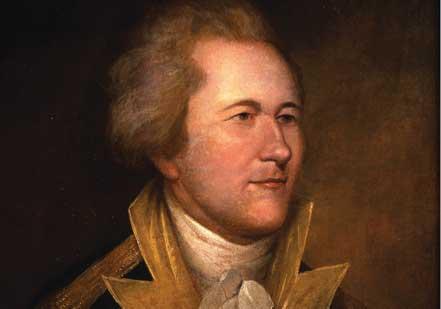 Portrait of Hamilton in Uniform by an unidentified artist, based on a portrait b