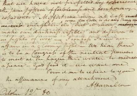 Letter from Hamilton to François, the Marquis de Barbé-Marbois, 1780 (Gilder Leh