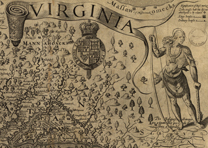 Detail of Jamestown from 1624 map of Virginia engraved by William Hole. (LOC)