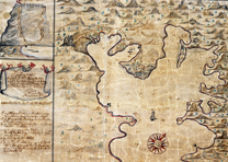 Map of Coral Bay on St. John, 1720, drawn by Anders Sørensen. Danish National Ar