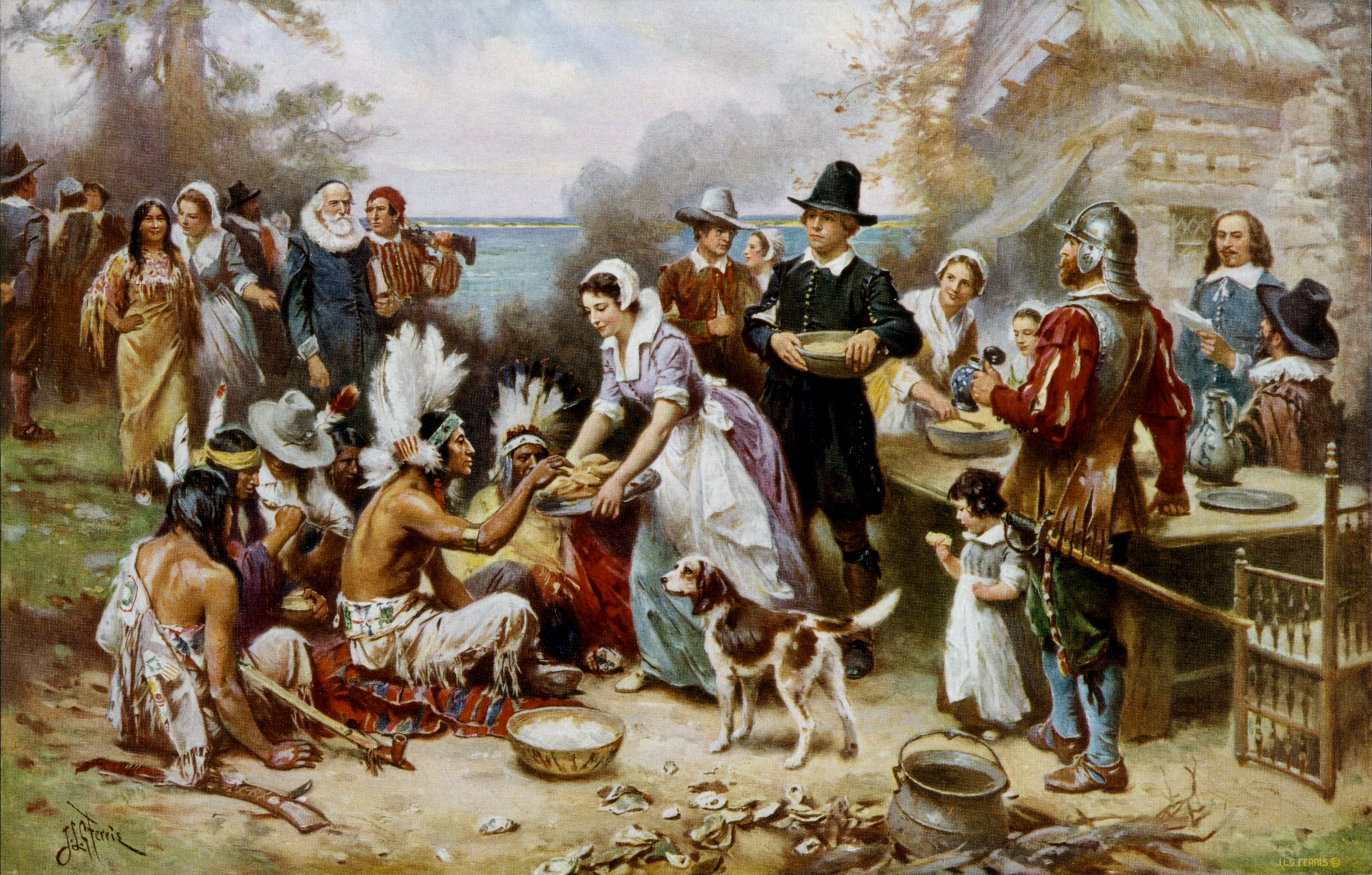 """The First Thanksgiving 1621,"" Jean Leon Gerome Ferris (1899)"