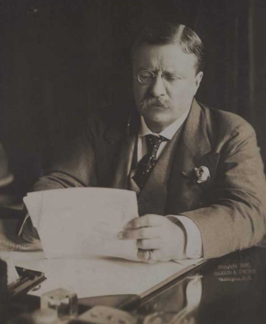 Theodore Roosevelt at his desk, ca. 1907, by Harris and Ewing, Washington, DC (Gilder Lehrman Collection)