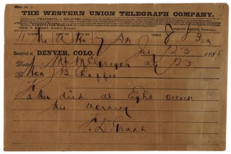 Frederick Dent Grant to J. B. Chaffee, telegram announcing Ulysses S. Grant's death, July 23, 1885 (Gilder Lehrman Institute).