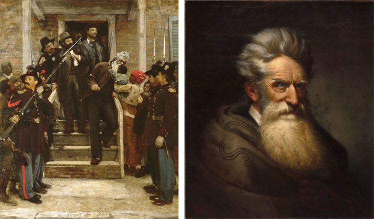 Left: The Last Moments of John Brown, by Thomas Hovenden (Metropolitan Museum of Art); Right: John Brown, by Ole Peter Hansen Balling (National Portrait Gallery)