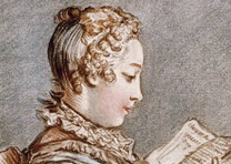 Woman reading a book (Eloyse et Abailard) after Fragonard