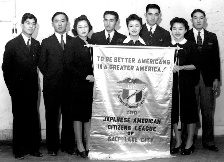 Mike Masaoka, first on left, with the Salt Lake City chapter of the Japanese American Citizens League, 1939 (Courtesy of the Ted Nagata, Denshō Digital Repository)