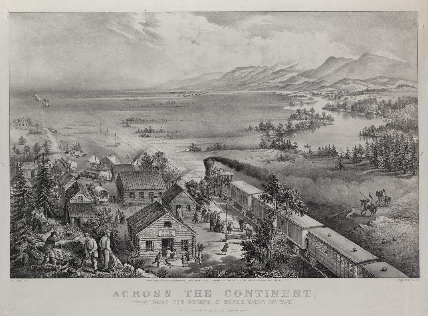 american ns and the transcontinental railroad the gilder across the continent currier and ives 1868 library of congress