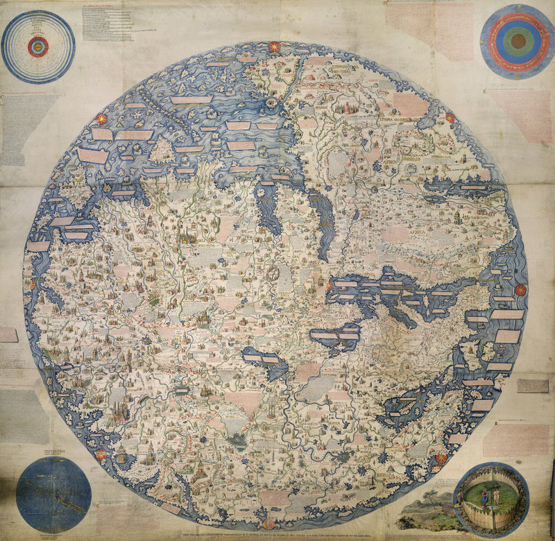William Frazer copy (1804) of Mappa Mondo (World Map) by Fra Mauro, ca. 1459. (British Library, MS 11267; flickr)