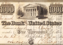 Bank note from the Bank of the United States dated December 13, 1840. (GLC01994.02)