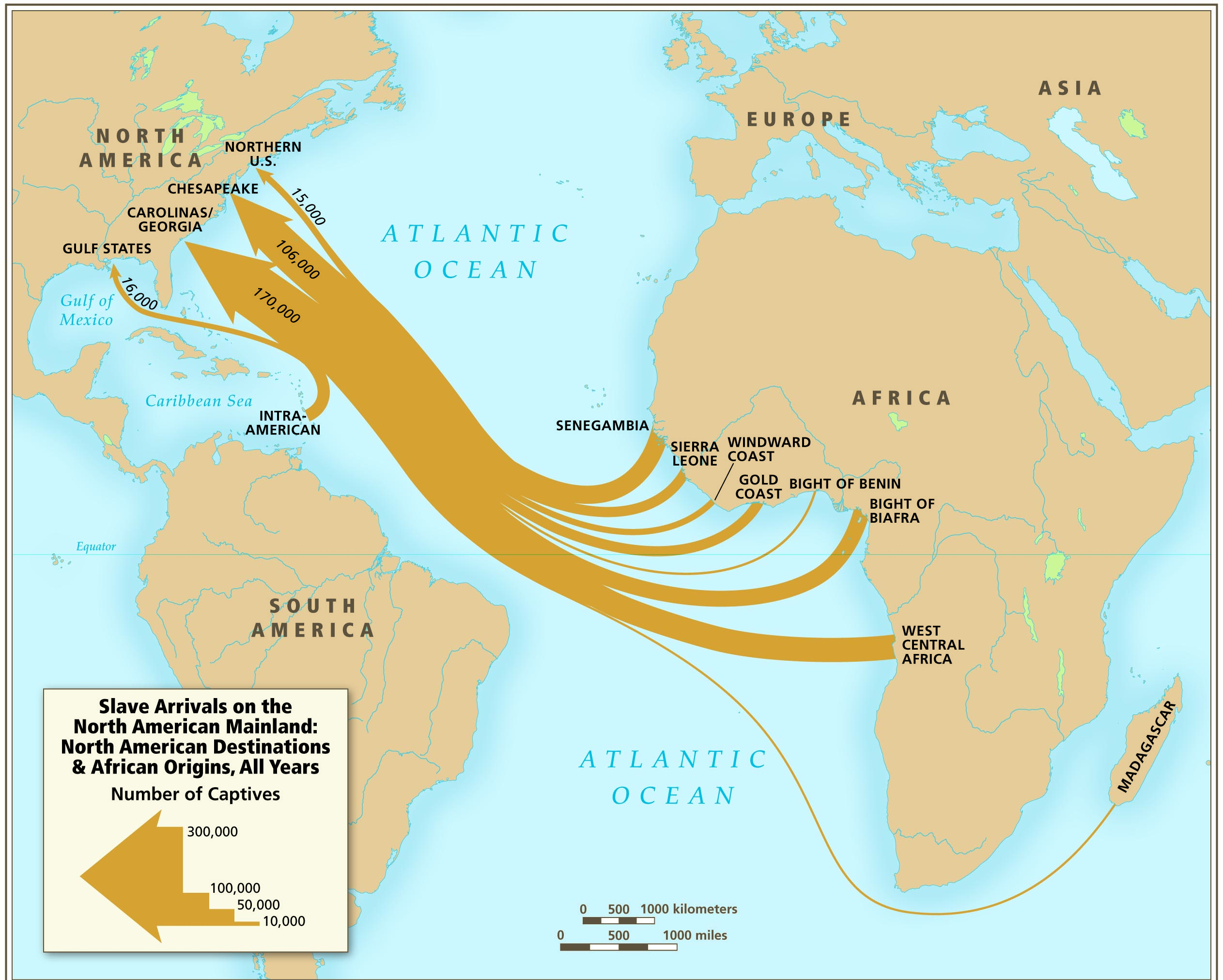 the origins of slavery the gilder lehrman institute of american slave arrivals on the north american mainland map atlas of the transatlantic s