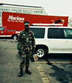 Leaving for War: In front of the Weapons Company 2/25 drill center, Garden City NY, 2003. (Courtesy of Maurice Decaul)