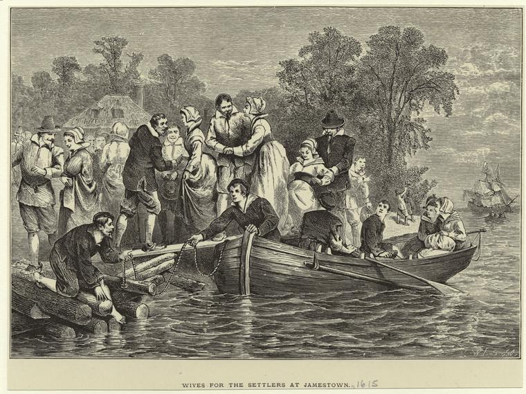 Wives for the settlers at Jamestown. W. L. S., NYPL