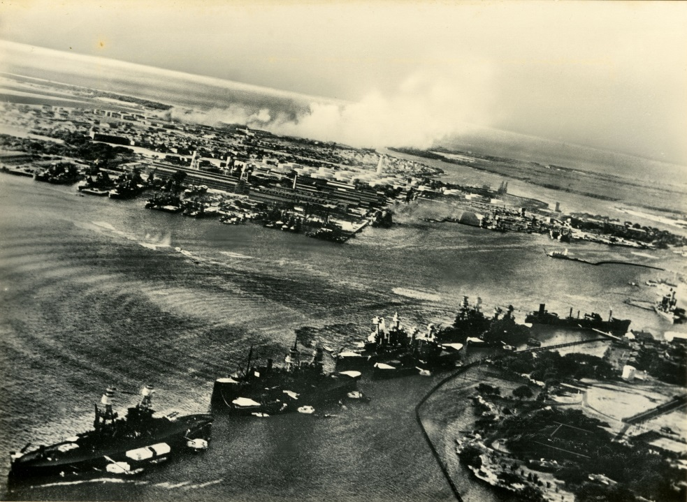 Aeriel view of Attack at Pearl Harbor. (The Gilder Lehrman Institute of American History, GLC09552.02);