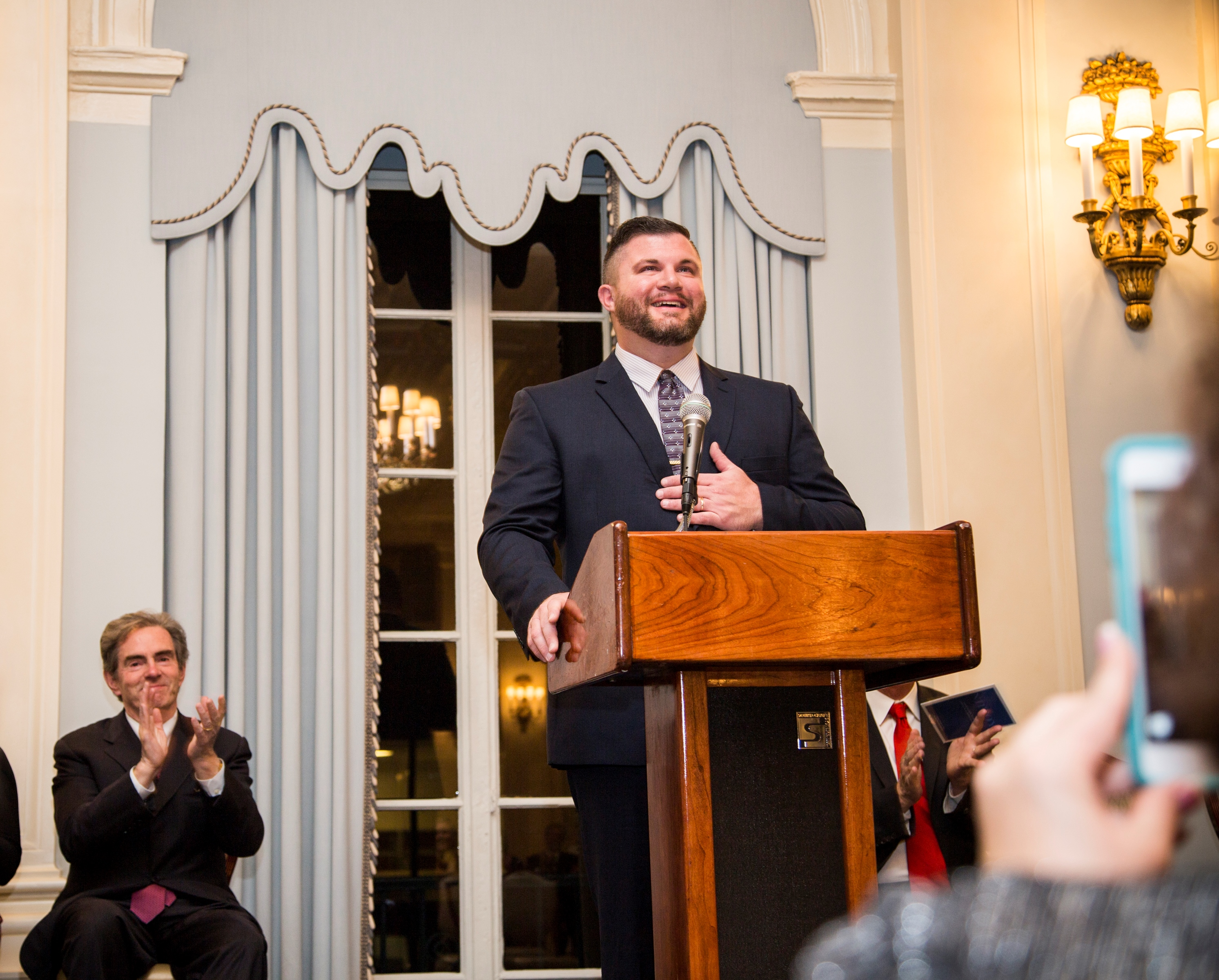 2016 National History Teacher of the Year, Kevin Cline, at his award ceremony in New York