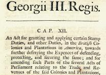The Stamp Act, pamphlet, published in London, 1765. (GLC03562.11)