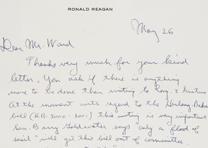 Ronald Reagan to Harold Ward, May 26, 1962. (GLC00782.17)