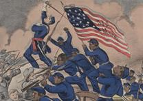 Charge of the Massachusetts 54th, Currier & Ives, 1863. (GLC)