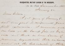 William T. Sherman to James H. Wilson, January 21, 1865. (GLC02947)