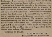 "William Barret Travis, ""To the Citizens of Texas,"" February 24, 1836. (GLC)"