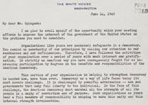 Franklin D. Roosevelt to Arthur B. Spingarn, June 14, 1940 (GLC04477)