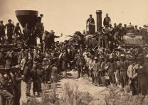 Joining of the rails at Promontory Point, photograph by Andrew J. Russell, May 1