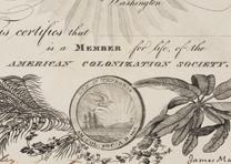 American Colonization Society membership certificate, 1833, detail. (GLC)