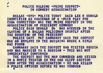 Dow Jones News Service ticker tape from the day John F. Kennedy was assassinate