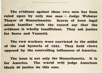 "Sacco-Vanzetti Defense Committee, ""Justice the Issue! Shall Sacco and Vanzetti"