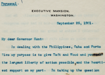 Theodore Roosevelt to William H. Hunt, September 26, 1901 (Gilder Lehrman Collec