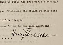 Harry S. Truman, Farewell Address, 1953. (Gilder Lehrman Collection)