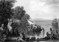 The Landing of Henrick Hudson, based on a paint1857. (Gilder Lehrman Collection)